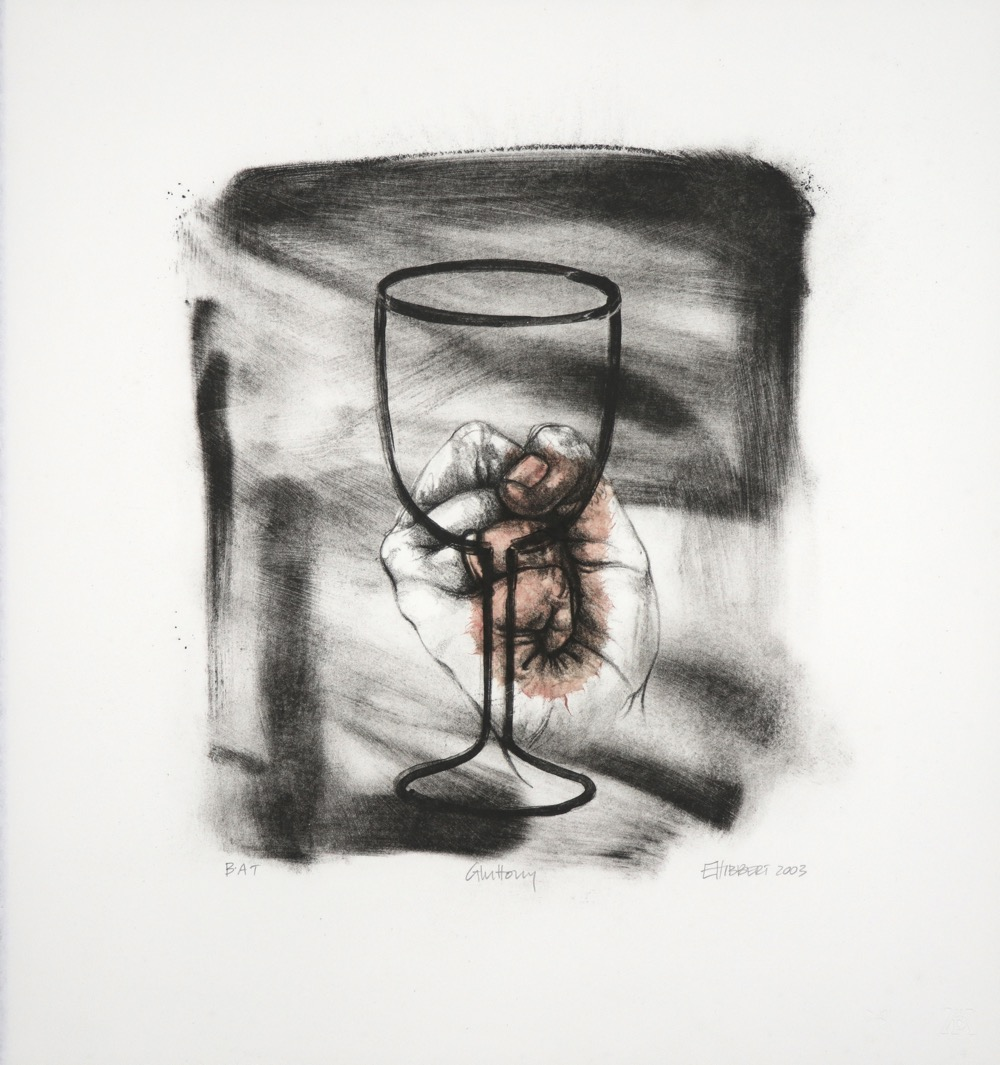 Wineglass outline with bunched fist behind it