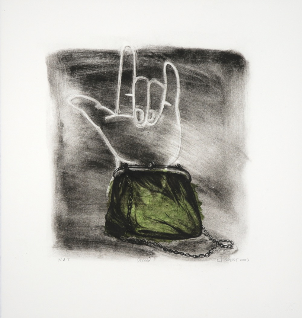 Lithograph print of hand outline showing safe sign with small green purse in foreground