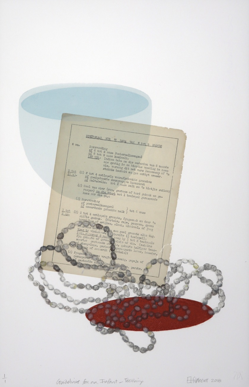 Grey teething bead necklace on red sphere with typed page adhered to monoprint with blue bowl form