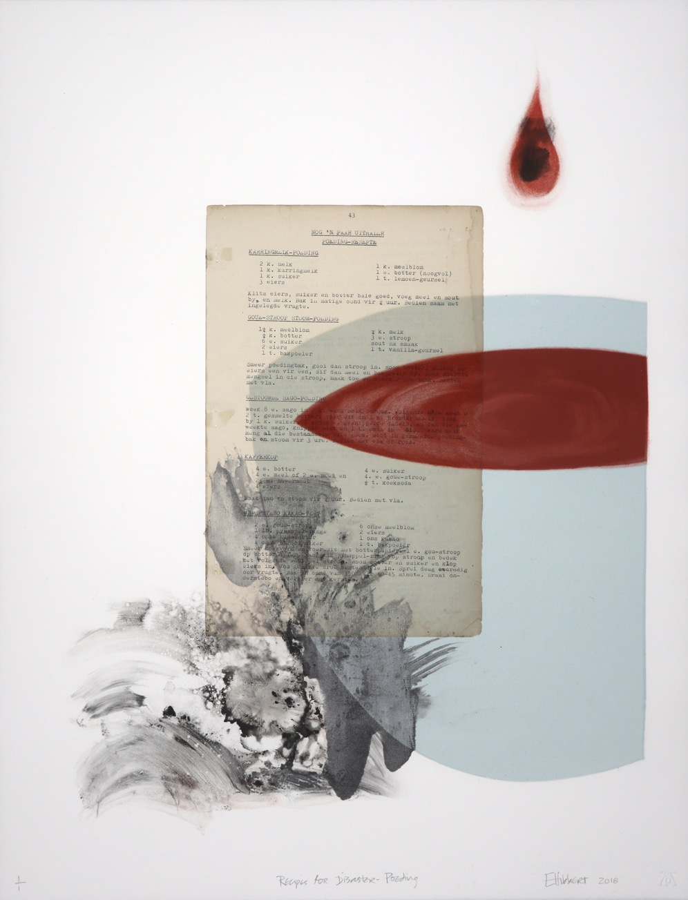 Light blue bowl seen from side containing red liquid and red drop suspended above it.Typed recipie page adhered to middle of monoprint.