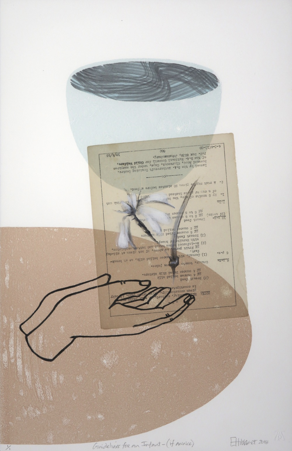 Outlines of cupped hands below white flower with  typed text page adhered to the print with semi-circular and bowl forms