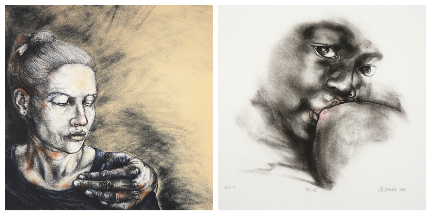 Details of two prints by Erika Hibbert that are the link to her page on the website