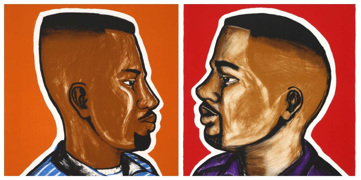Details of two limited edition handprinted brightly coloured lithographs by Espoir Kennedy in African barber sign style, profiles of two men with styled haircuts.