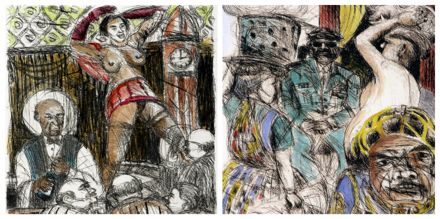 Details of two prints by Moleleki Ledimo that are the link to his page on the website