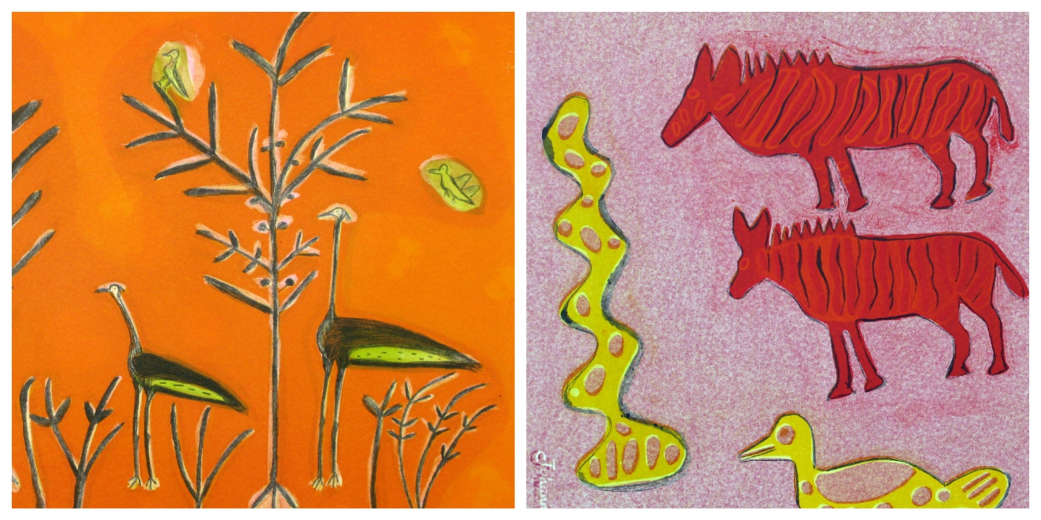 Details of two prints by members of the Kuru Art Project that are the link to their page on the website