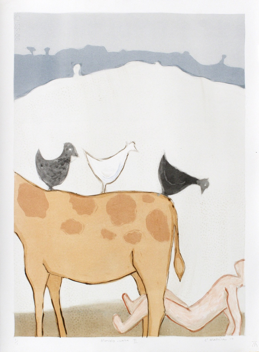 Bovine form with chickens on its back and a human figure below it set in a mountainous landscape