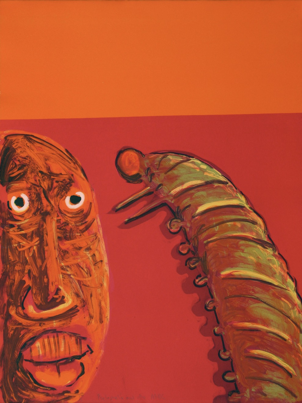 A man's face and a huge caterpillar facing each other in intense reds and orange colours.