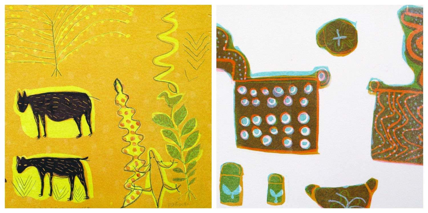 Details of two prints by Sara Cao that are the link to her page on the website