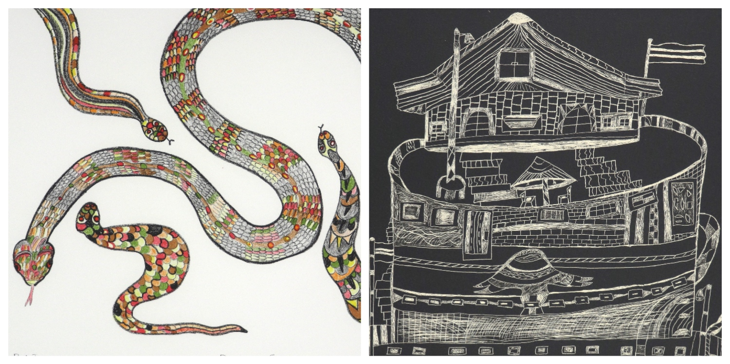 Details of two prints by Espoir Kennedy that are the link to his page on the website
