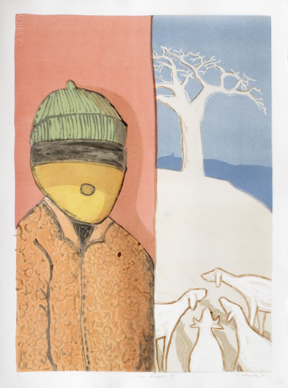 Format split into two sections. On left man wearing a woolly hat on right sheep in landscape with tree on skyline.