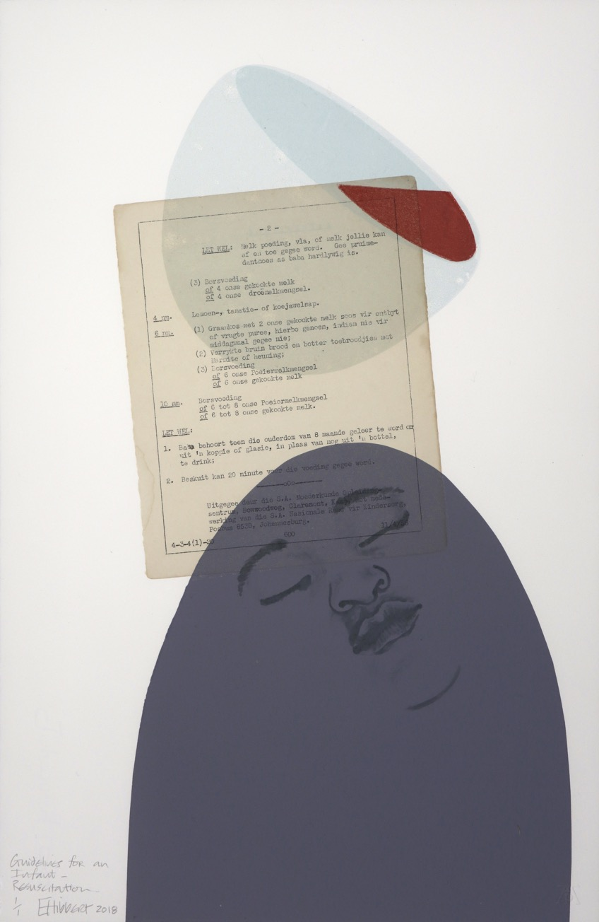 Sleeping child's face sketch in grey ellipse with typed text page and tiltled pale blue bowl containing blood