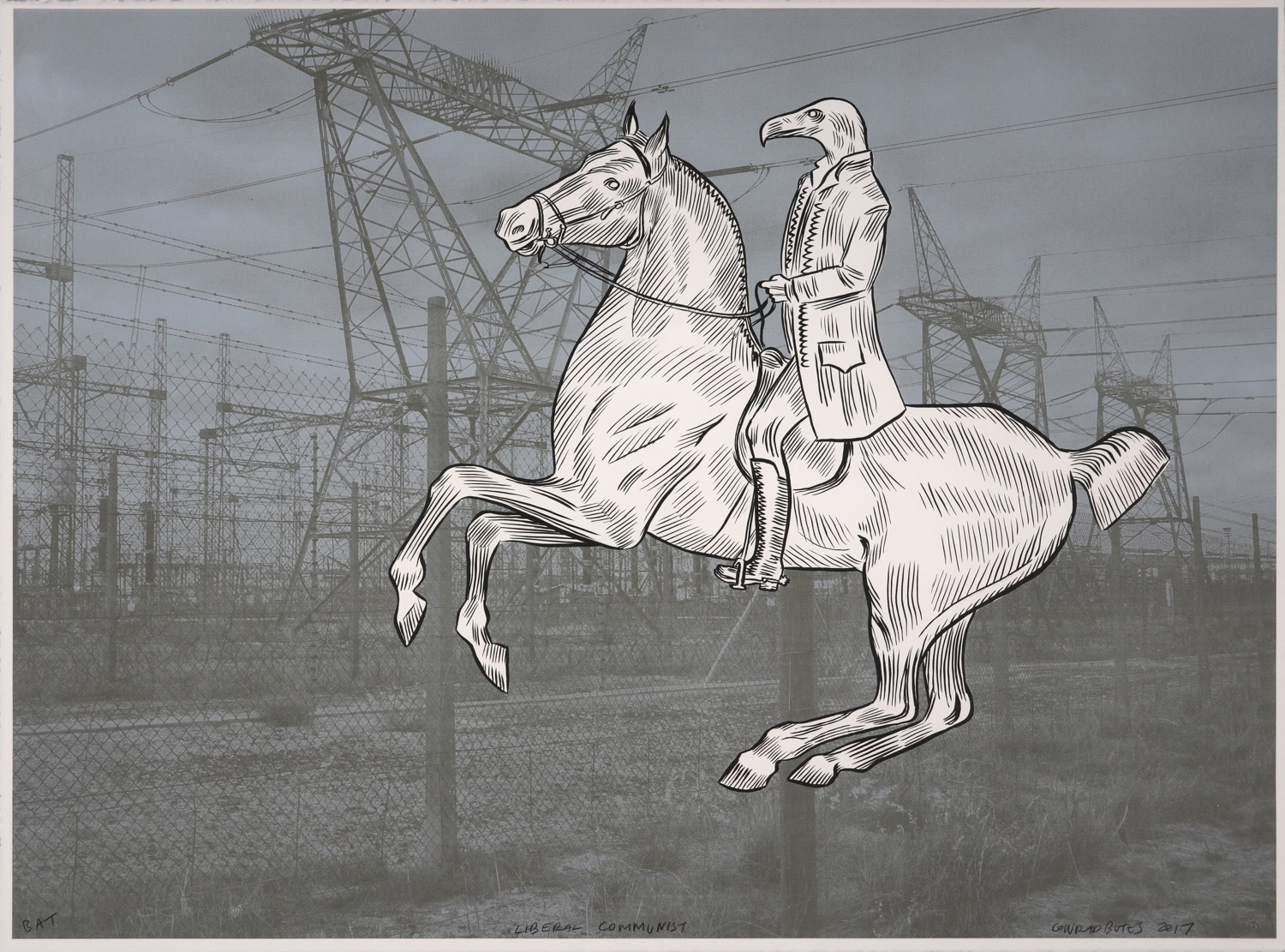 Vulture headed man on horseback with electrical power transmission station in the background