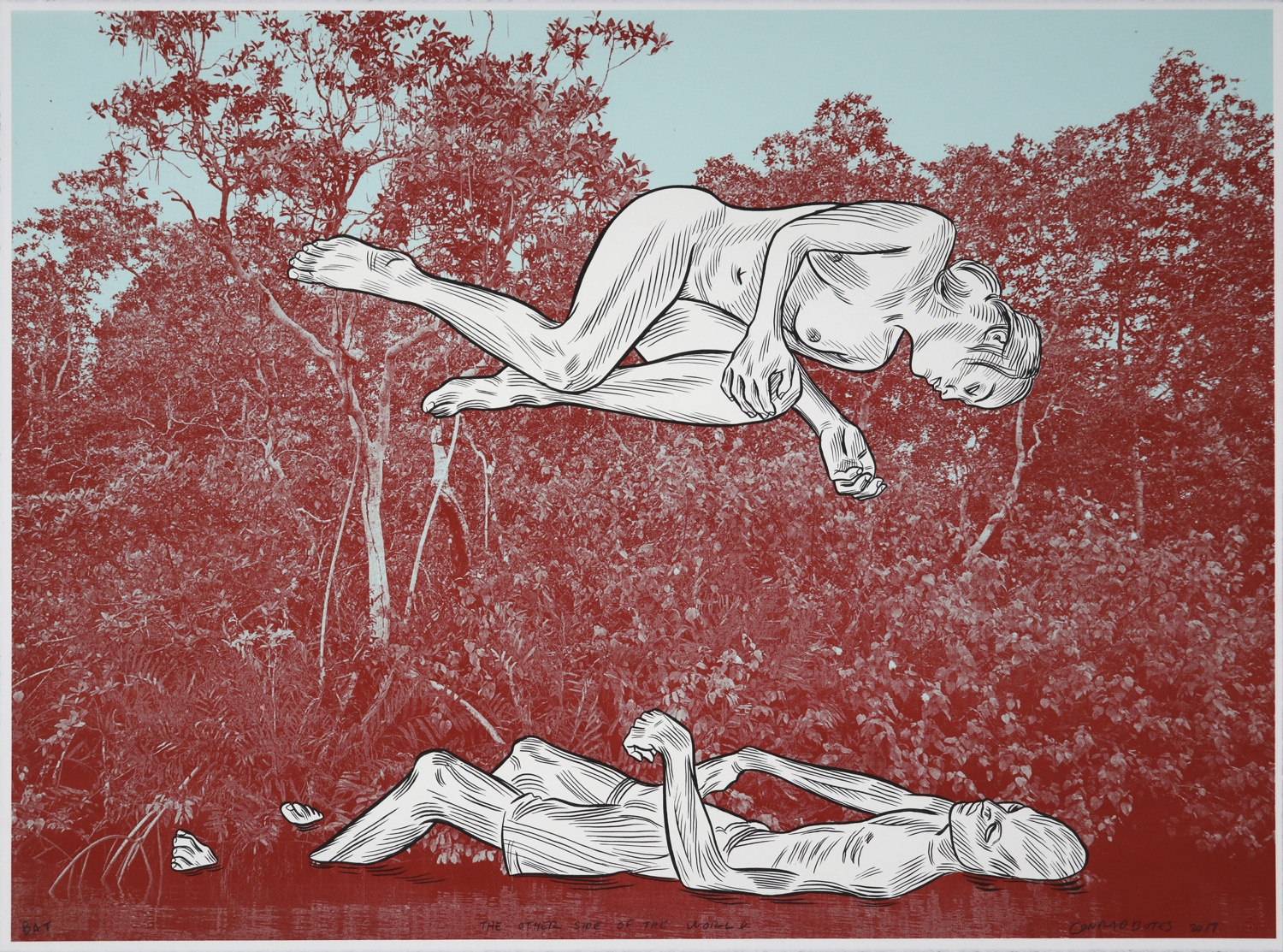 Man floating in water with woman suspended in the air above him with river forest background