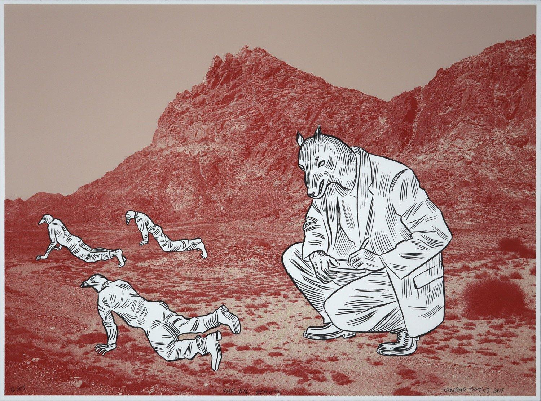 A note taking canine-headed man kneeling whilst three bird-headed men crawl across a desert landscape.