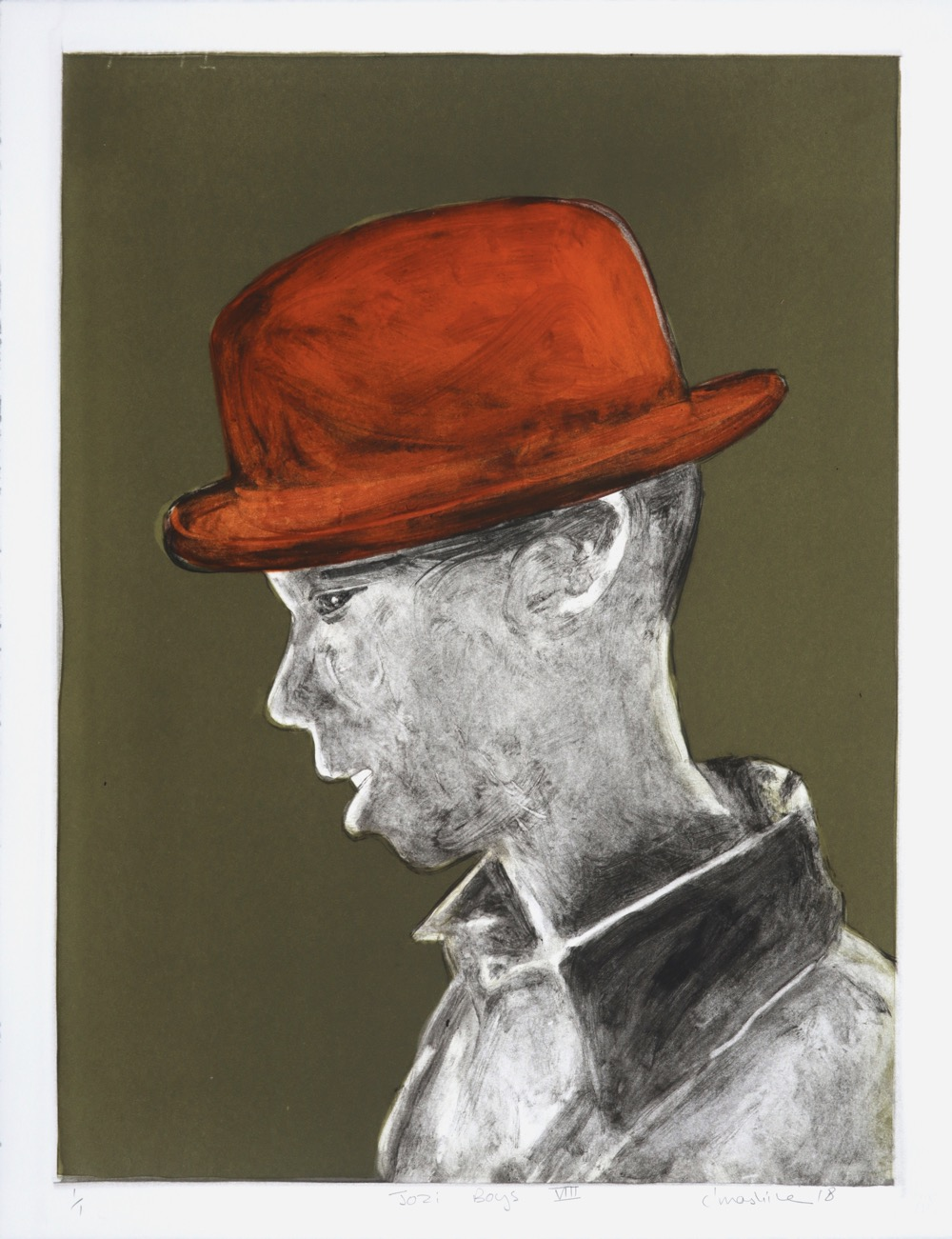Profile of a young man in a trilby hat wearing a collared shirt.