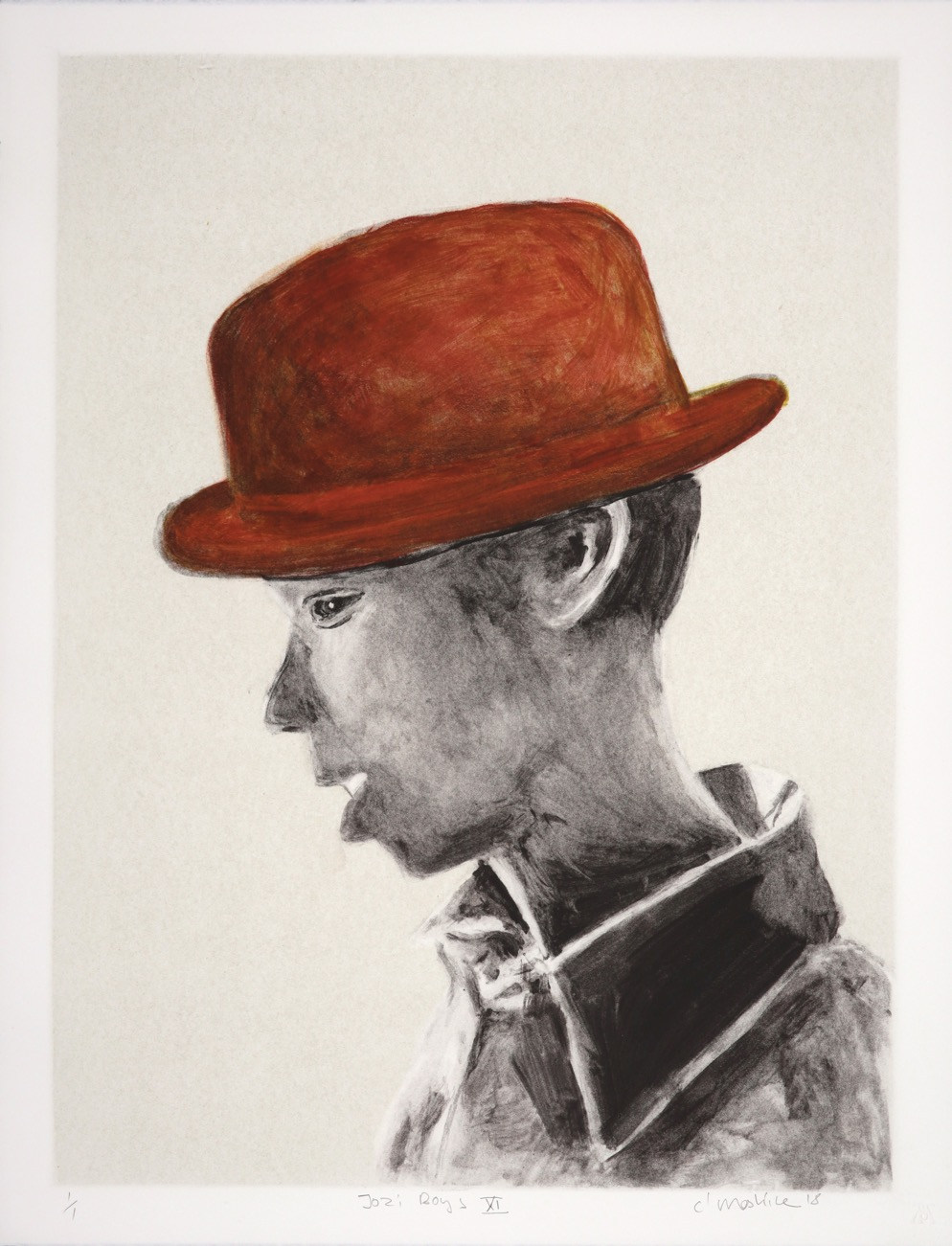 Monochrome profile of a young man with a reddish-brown hat on.