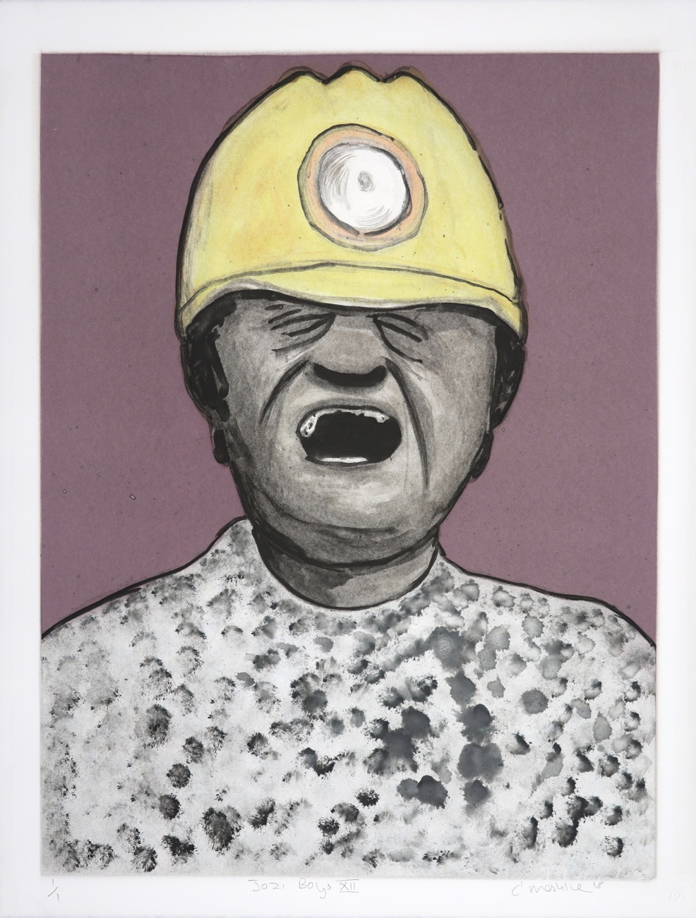 Head and shoulders portrait of a shouting man wearing a mining helmet.
