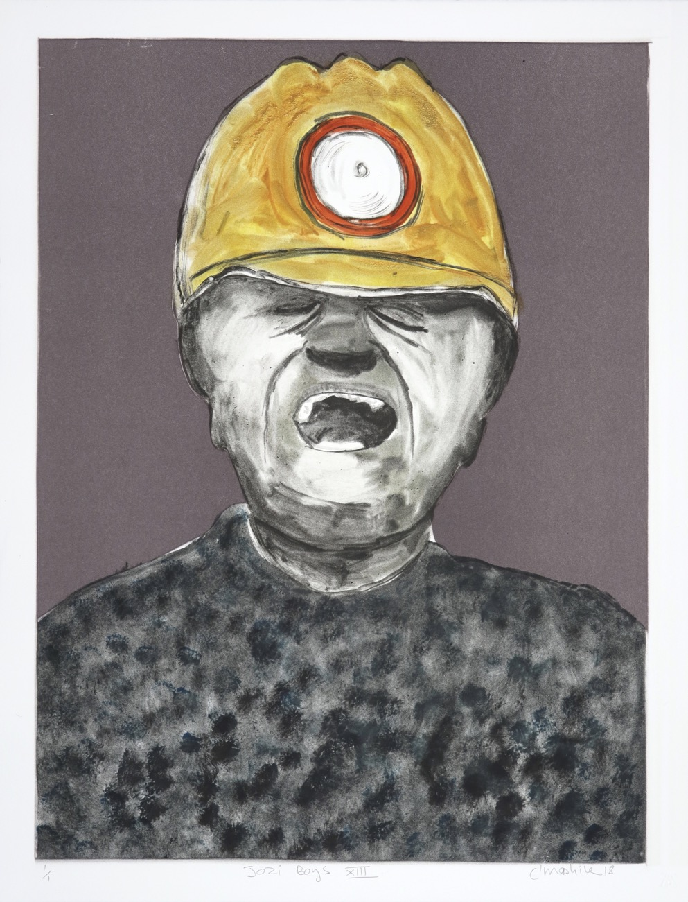 Portrait of a miner with his eyes closed and mouth open