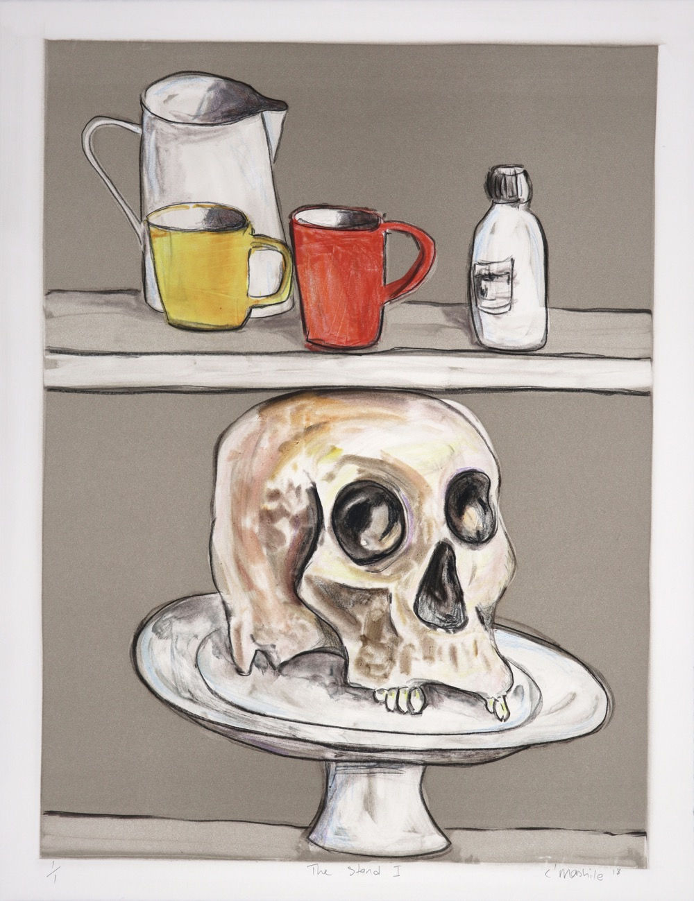 Shelves holding kitchen vessels and human skull on a cake stand.