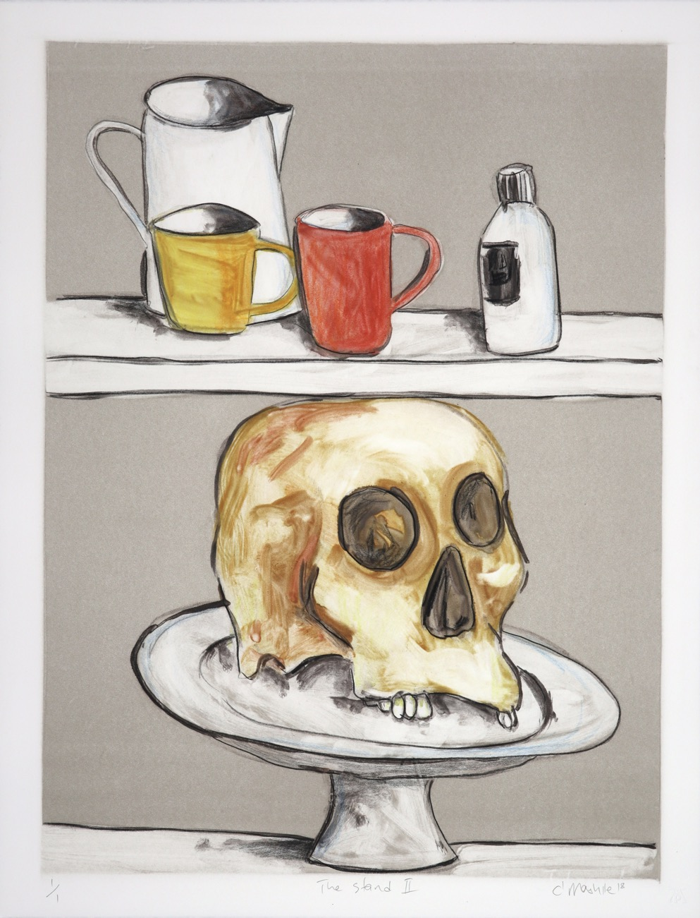 Two kitchen shelves holding cups, jar bottle and on bottom shelf cake stand with human skull