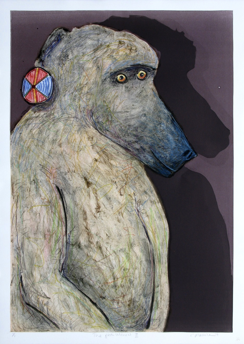 Baboon head and shoulders with shadow. The baboon is wearing a colourful disc earring.