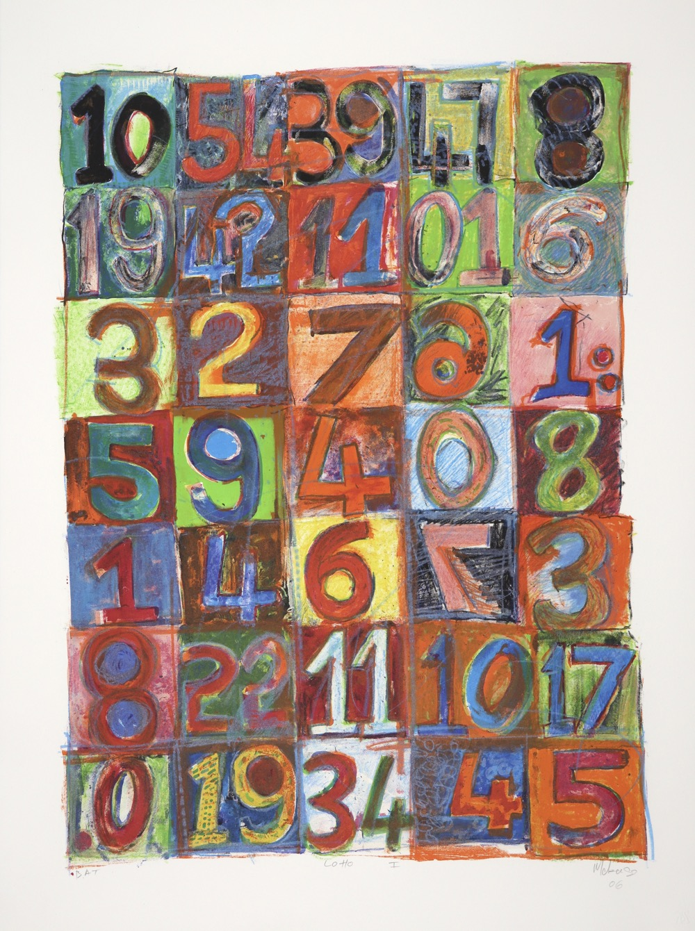 Brightly coloured squares across the whole lithograph with a number in each square.