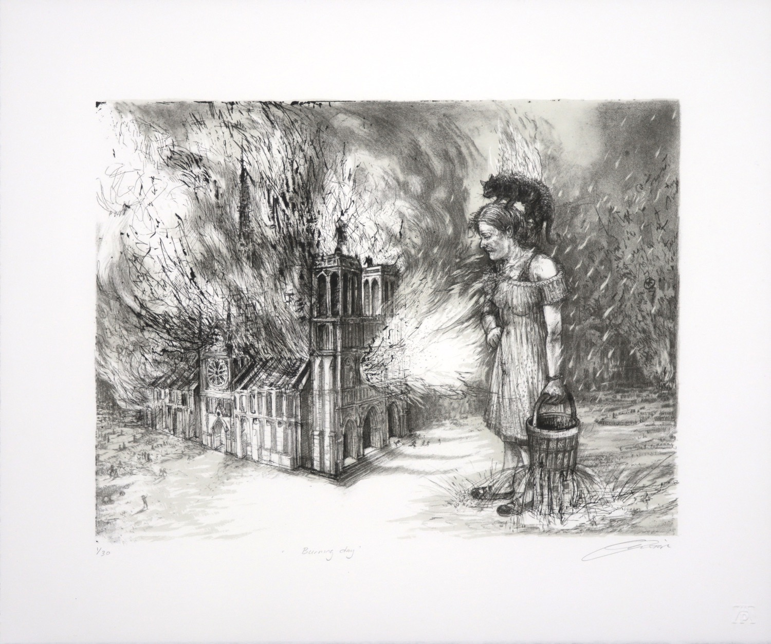 Lithograph of a woman standing with leaking bucket in front of burning Notre Dame Cathedral