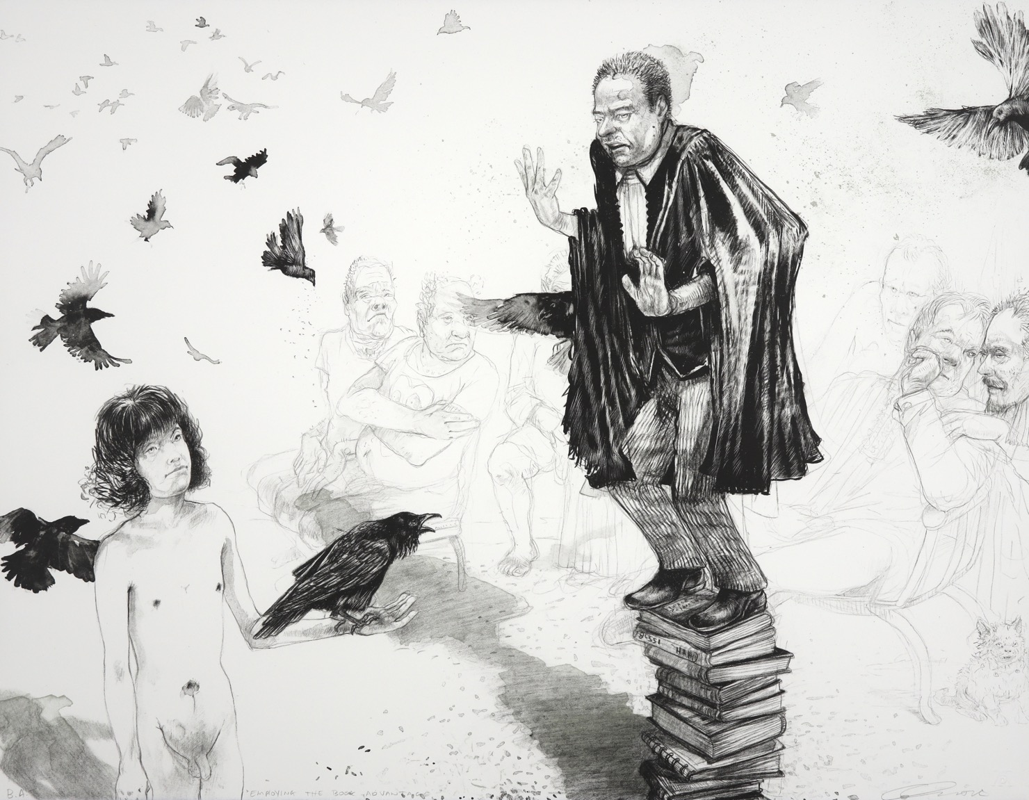 Lawyer standing on a pile of books addressing a naked teenage boy holding a crow