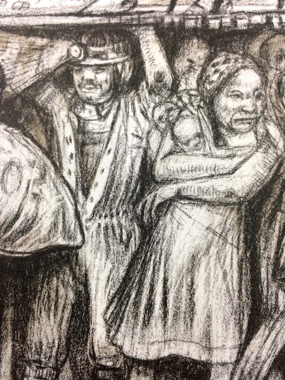 Detail of print showing a miner and a woman holding babies