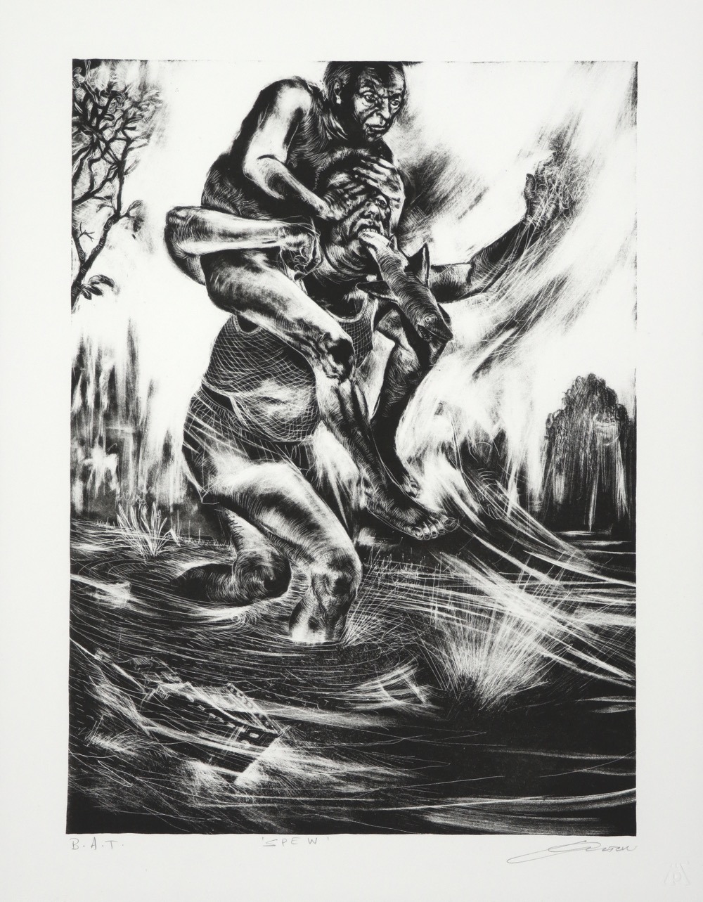 man with fish in mouth carrying a man on his shoulders across river