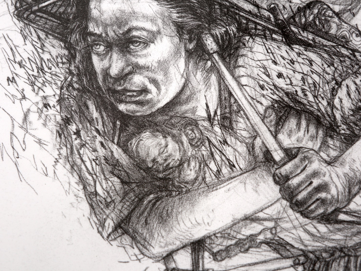 Detail of Surveying the Terrain print showing woman's face with a baby tucked against her chest