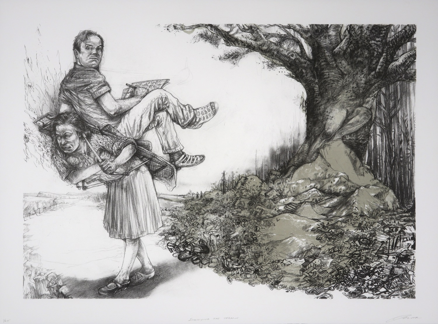 woman carrying a man on her back walking away from tree with decimated landscape beneath it