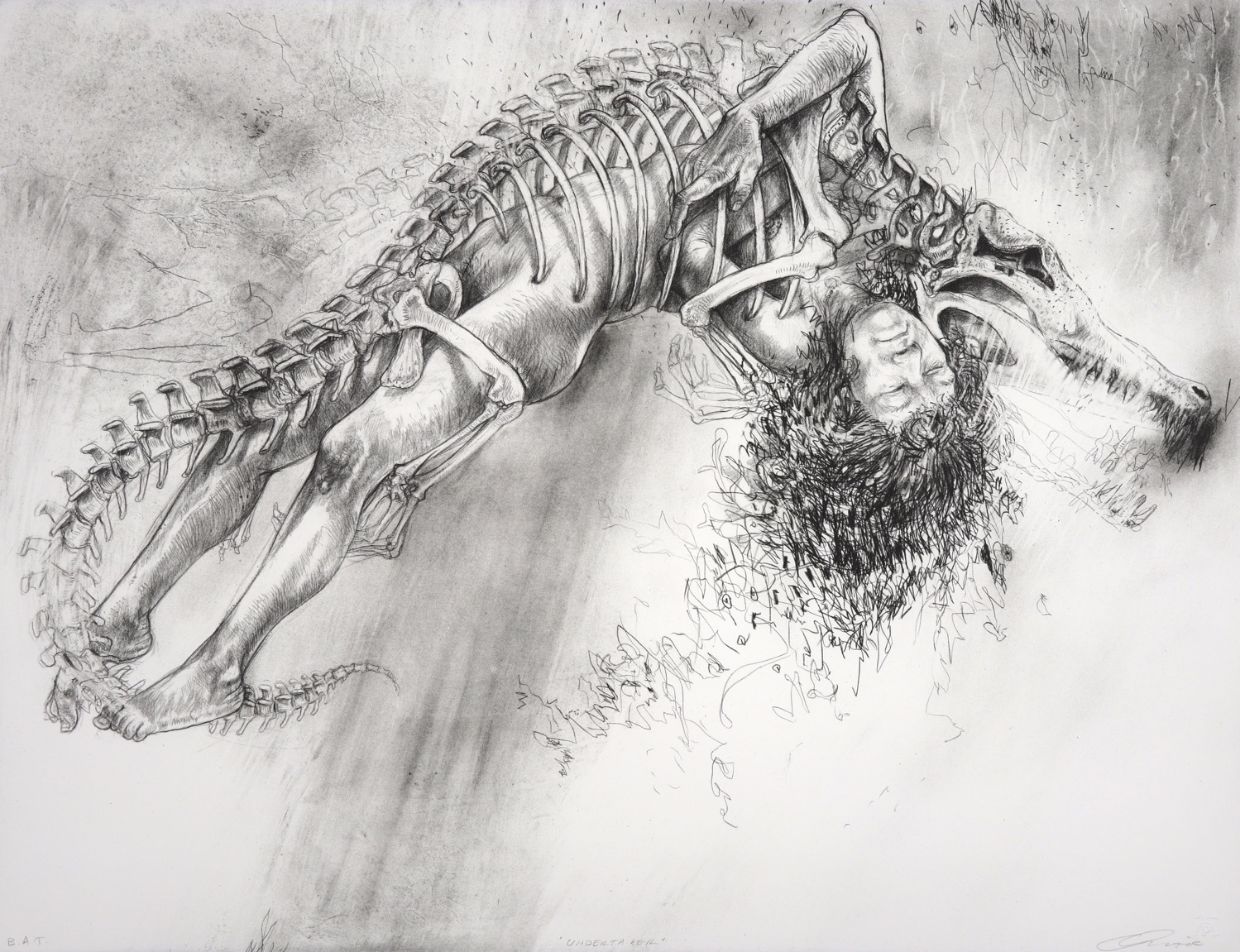 Crocodile skeleton drawn to mesh with the figure of a naked young woman.