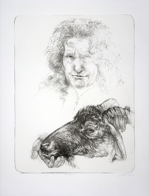 Diane Victor self-portrait of her head and shoulders with goat head in her hands