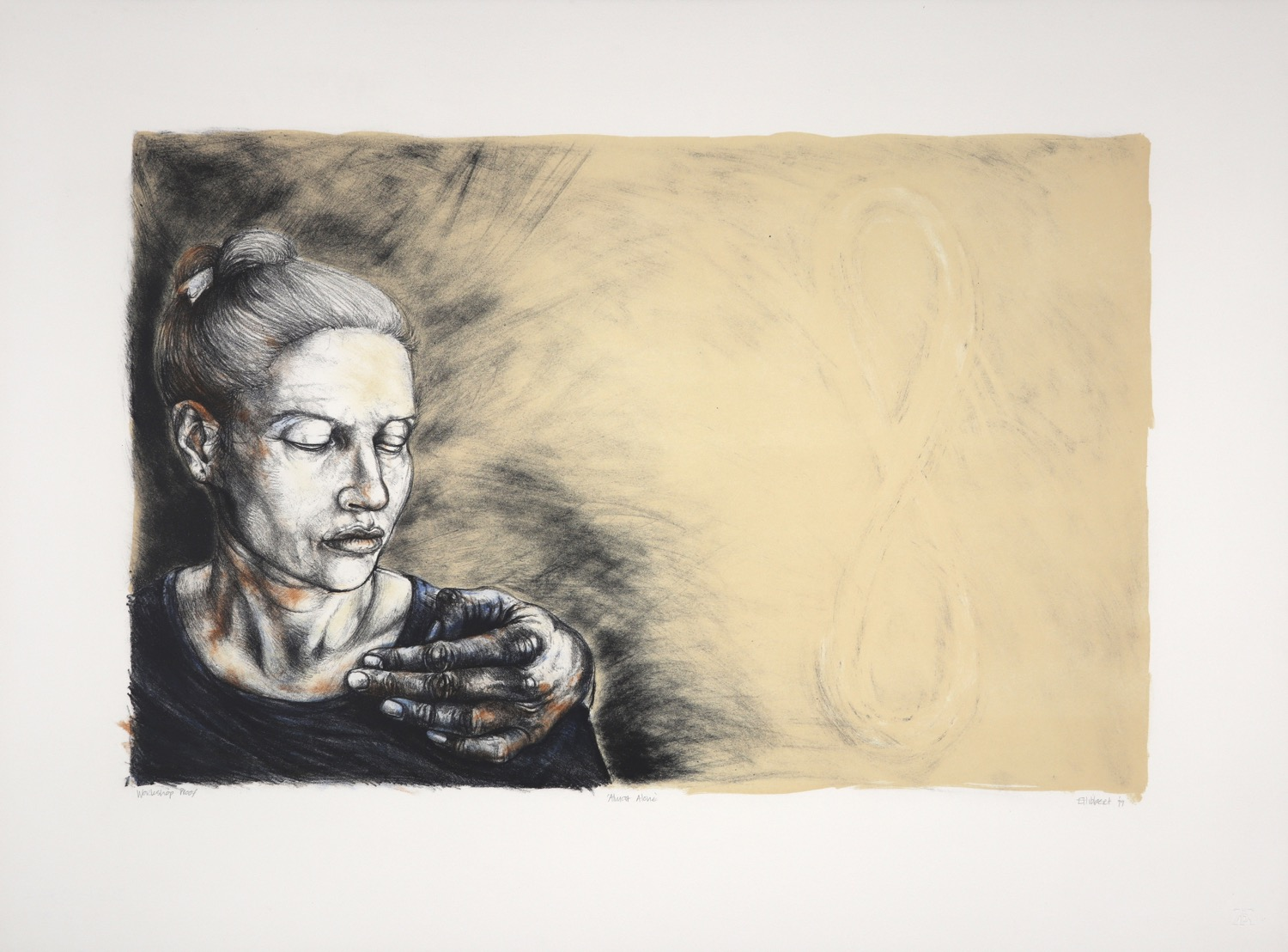 Woman's head and shoulders with protective hand on left, infinity sign on right of the print.
