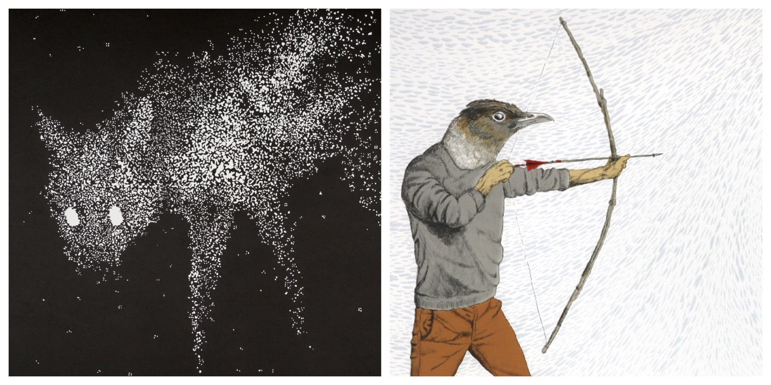 Details of two prints by Simon Attwood that to link to the page of his prints on the website