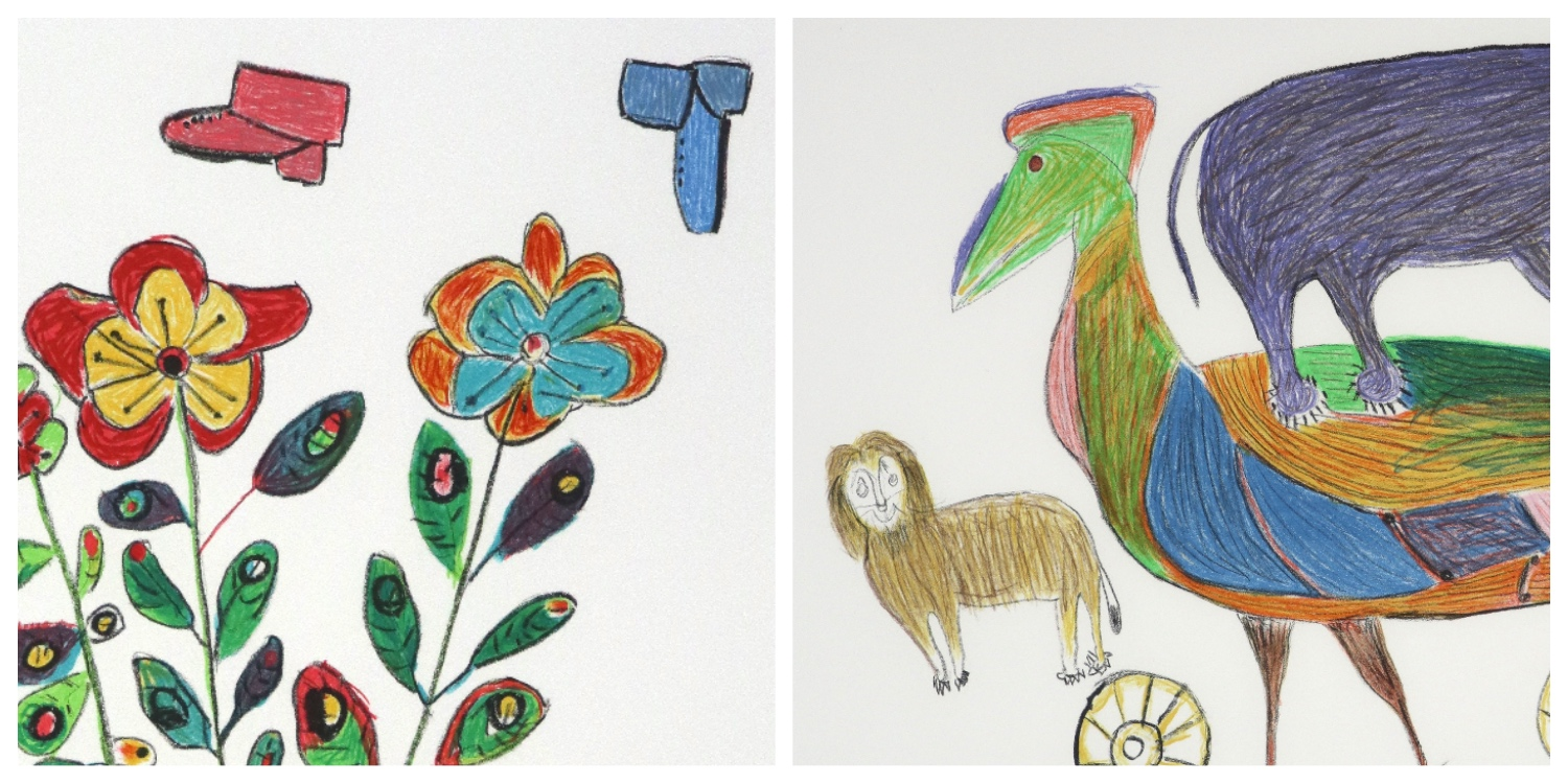 Details of two lithographs by Coex'ae Bob to link to her page on the website