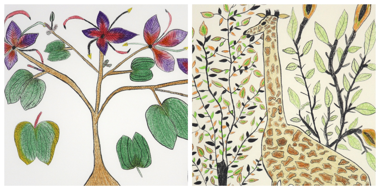 Details of two prints by Koaba Coco that are the link to her page on the website